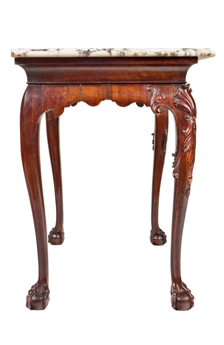 18th Century Irish Console Table with Original Shaped Marble Top 4