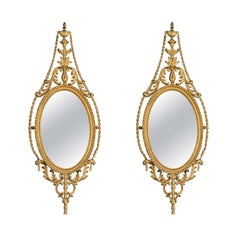Pair of Late 19th Century English Adam Style Gilt Oval Mirrors