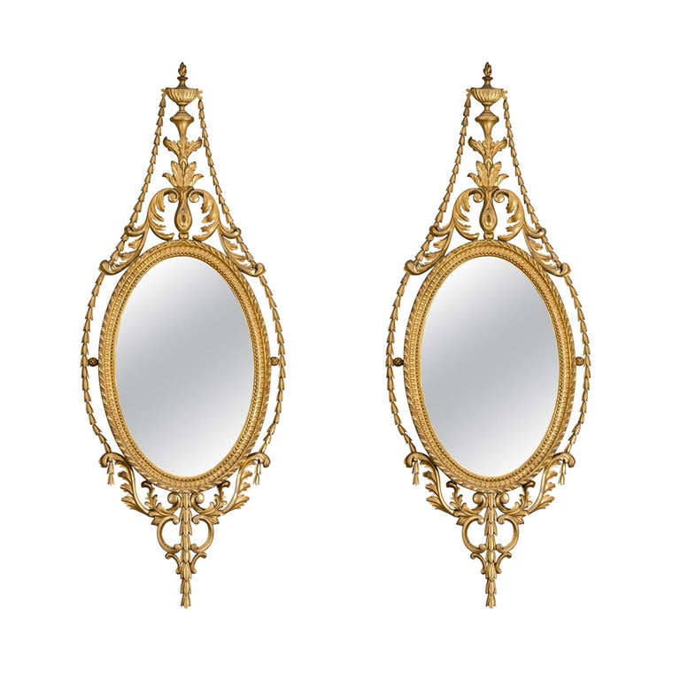 Pair of Late 19th Century English Adam Style Gilt Oval Mirrors For Sale
