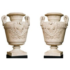 Pair of 19th Century Painted Cast Iron Urns