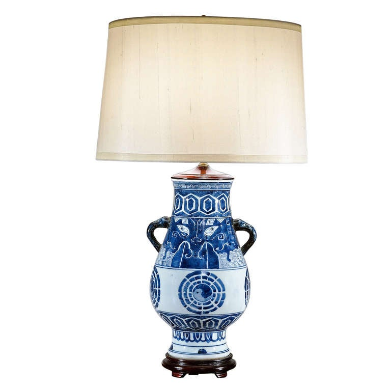 chinese blue and white porcelain lamp at 1stdibs. Black Bedroom Furniture Sets. Home Design Ideas