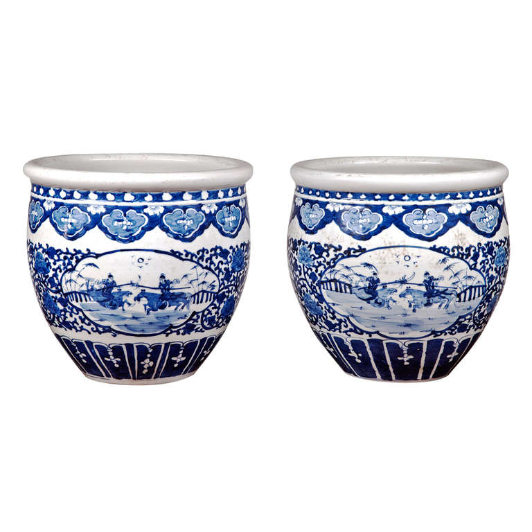 Pair of Chinese Blue and White Porcelain Fish Bowl Planters