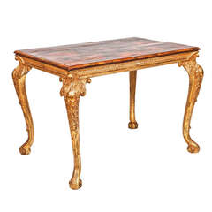 18th Century George II Giltwood Center Table with Oyster Veneered Parquetry Top