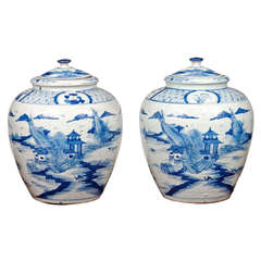 Pair of Large Blue and White Porcelain Urns