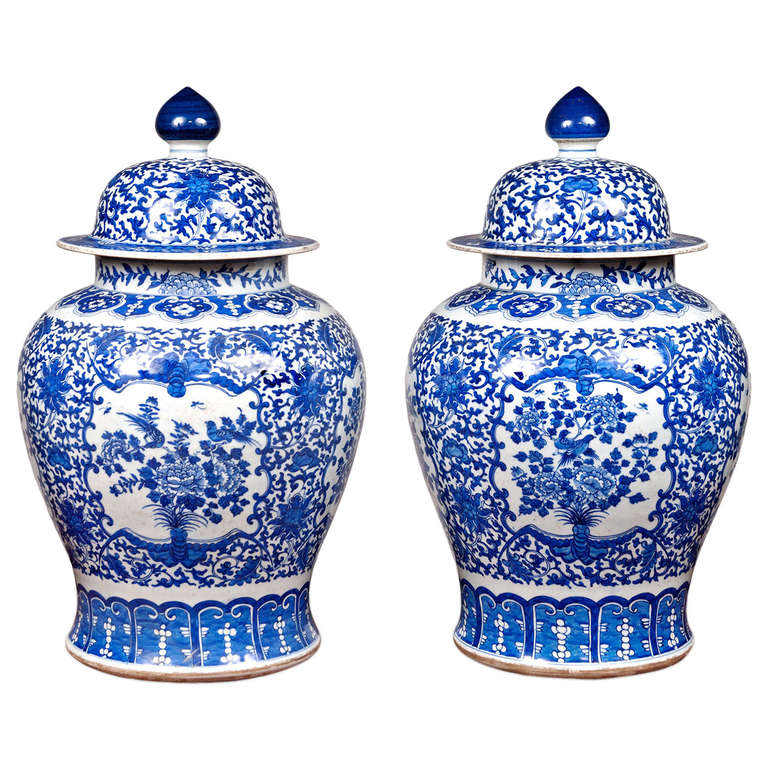 Pair Of Large 20th Century Blue And White Porcelain Temple Jars For