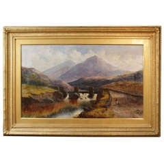 Oil On Canvas Landscape, Figures On A Bridge By Charles T Howard