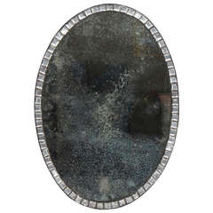 18th Century Oval Irish Clear Cut Glass Mirror