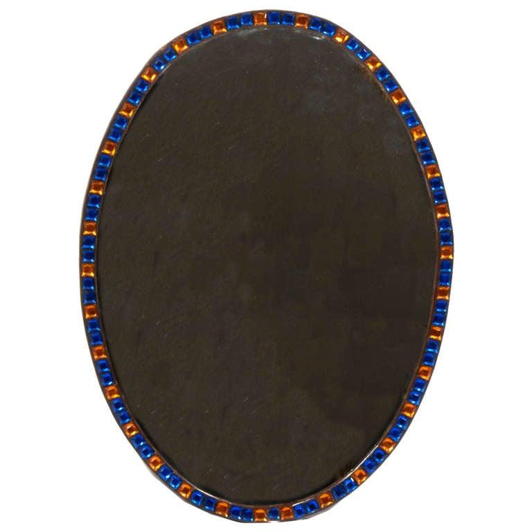 Irish Blue and Amber Glass Oval Mirror