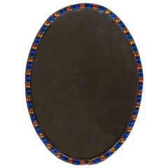 Irish Blue and Amber Glass Oval Mirror