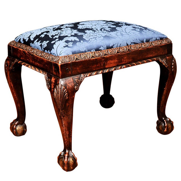 Georgian Mahogany Stool with Shell-Carved Cabriole Legs For Sale
