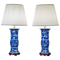 Pair of Blue and White Porcelain Trumpet Vase Lamps