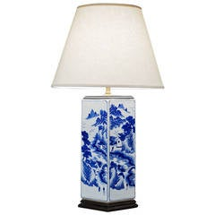 Rectangular Blue and White Porcelain Lamp