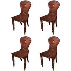 Set of Four Mahogany Hall Chairs