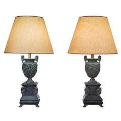 Pair of Bronze Classical Lamps