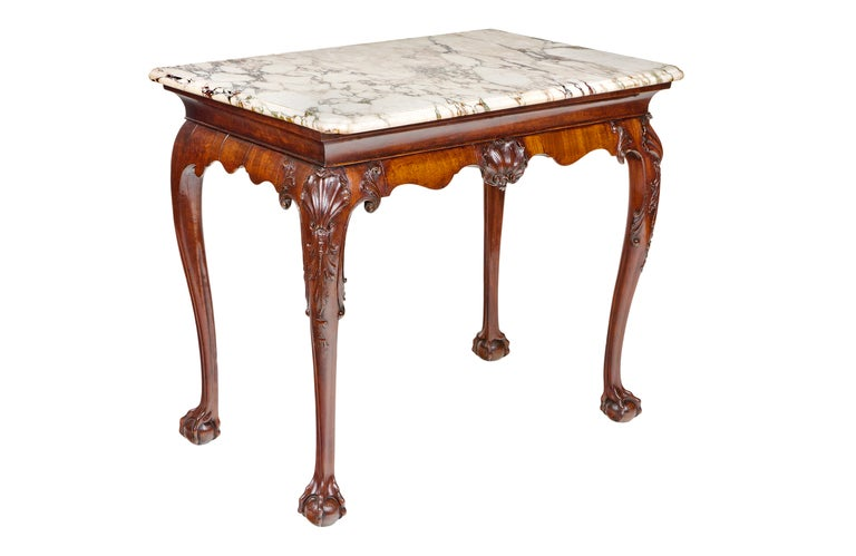 18th Century Irish Console Table with Original Shaped Marble Top 3