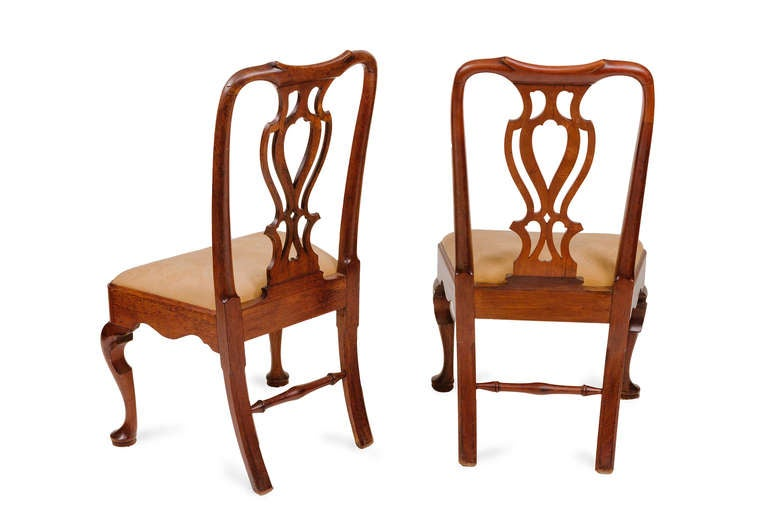 Carved Pair of 18th Century Georgian Mahogany Side Chairs For Sale