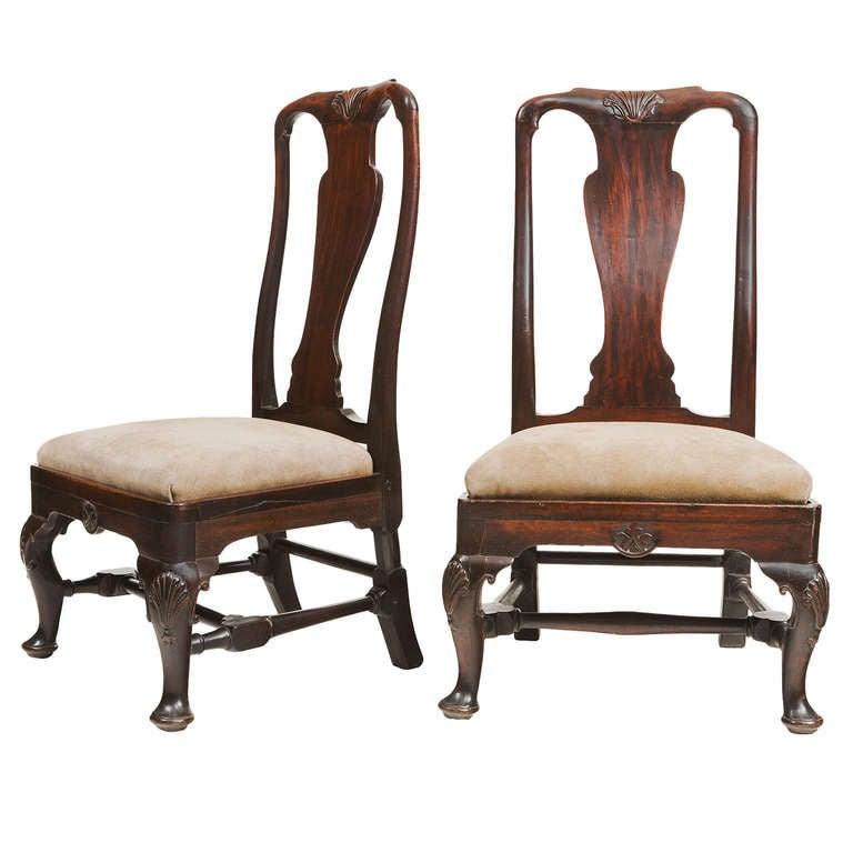 Pair of 18th Century Georgian Mahogany Slipper Chairs For Sale