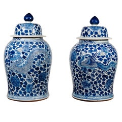 Pair of Blue and White Temple Jars