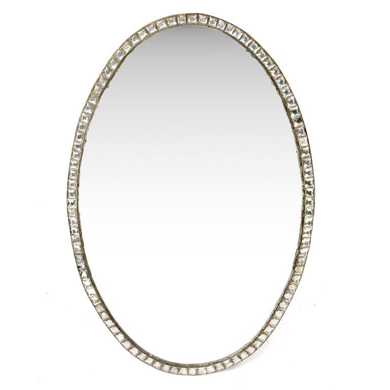 18th Century Irish Clear Glass Framed Oval Mirror For Sale