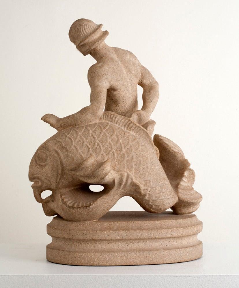 Scandinavian Modern Sandstone Sculpture of a Merman by Just Andersen For Sale