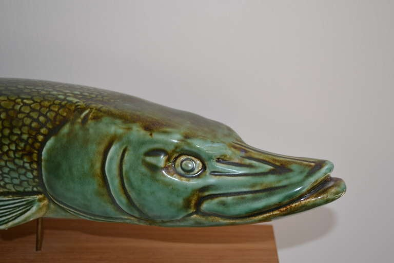 ceramic fish sculpture by sven weisfelt at 1stdibs