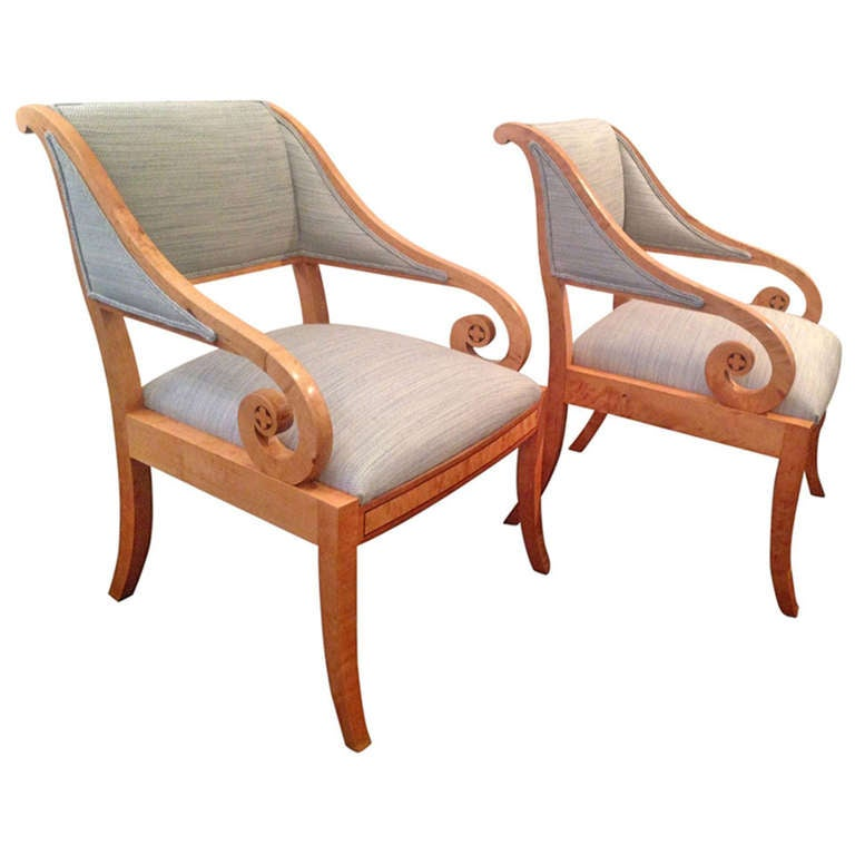 Pair of Swedish Cabinetmaker Chairs in Classical Style For Sale