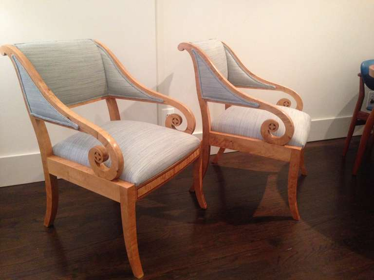 Pair of Swedish cabinetmaker chairs in classical style, circa 1920s.