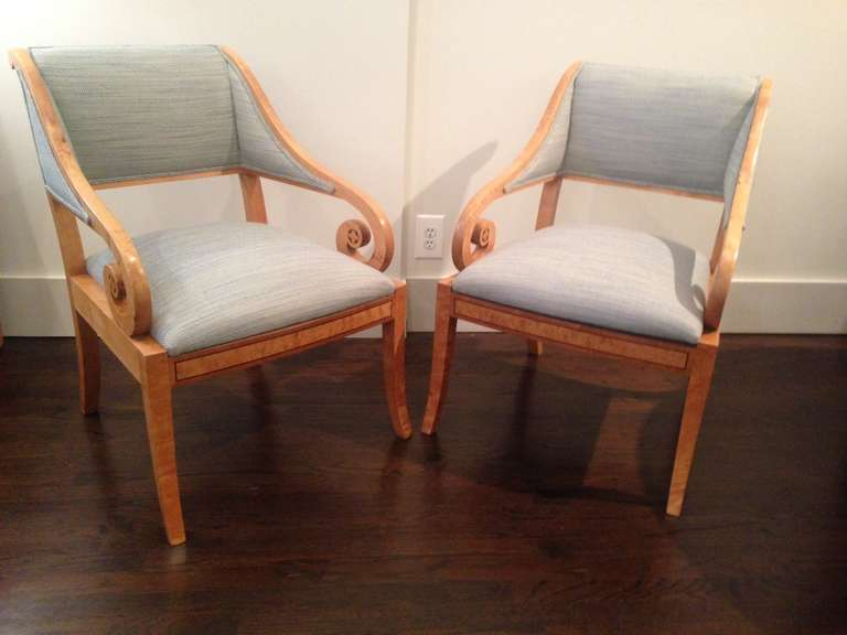 Scandinavian Modern Pair of Swedish Cabinetmaker Chairs in Classical Style For Sale