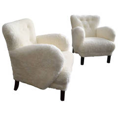 Pair of Upholstered Lounge Chairs in the Style of Viggo Boesen