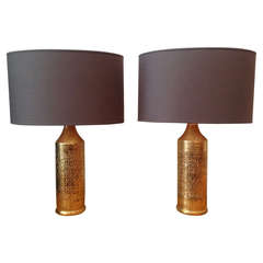 Glazed Gold Ceramic Lamps, Sweden, circa 1960