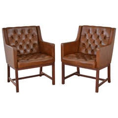 Pair of Chairs in Original Leather by Karl-Erik Ekselius