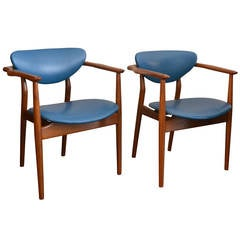 Rare Pair of Teak and Leather Armchairs by Finn Juhl, Denmark, circa 1946