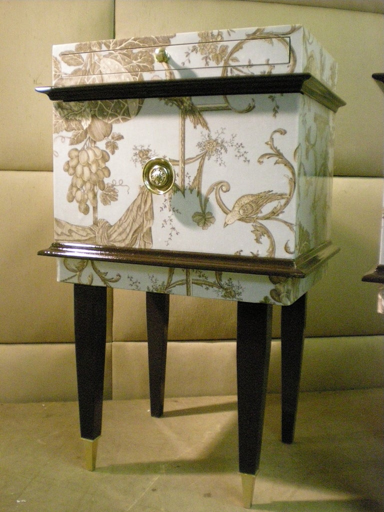 pair of toile de jouy nighstands at 1stdibs