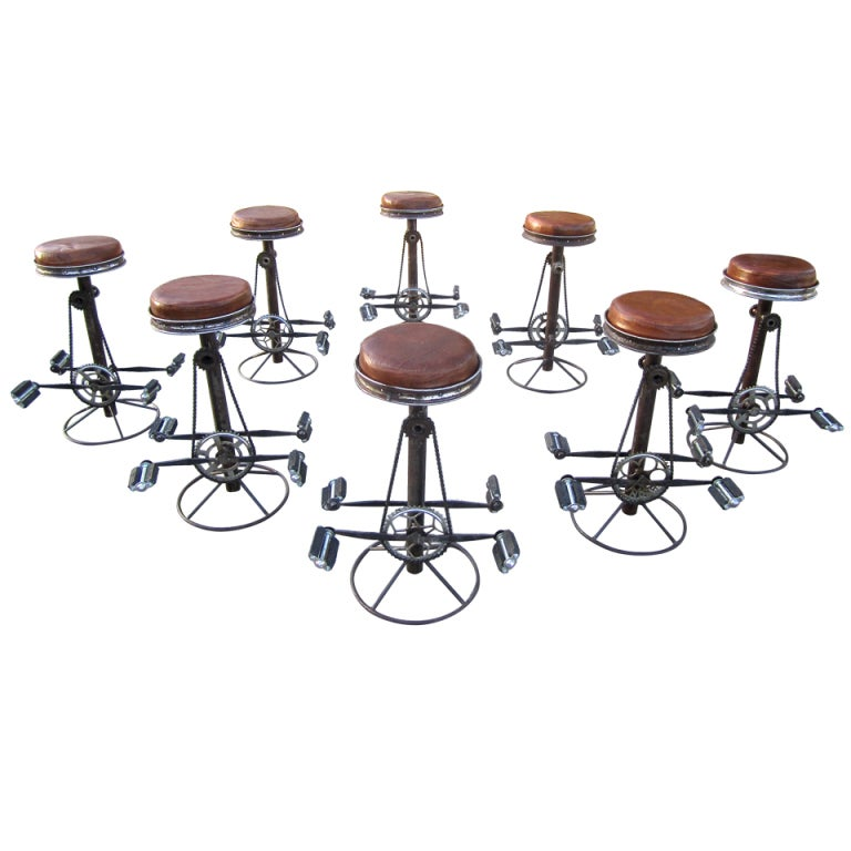 Set Of Eight Bicycle Barstools At 1stdibs