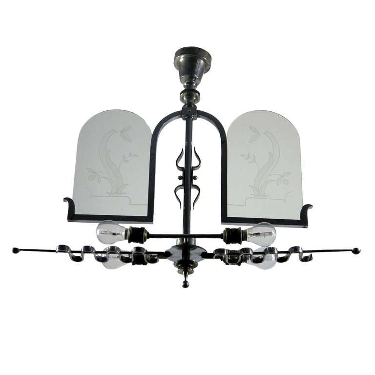 Italian Etched Glass Deco Chandelier At 1stdibs