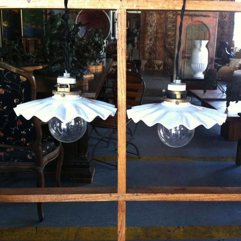 Terrific Pair Of White Ripple Glass Pendants At 1stdibs