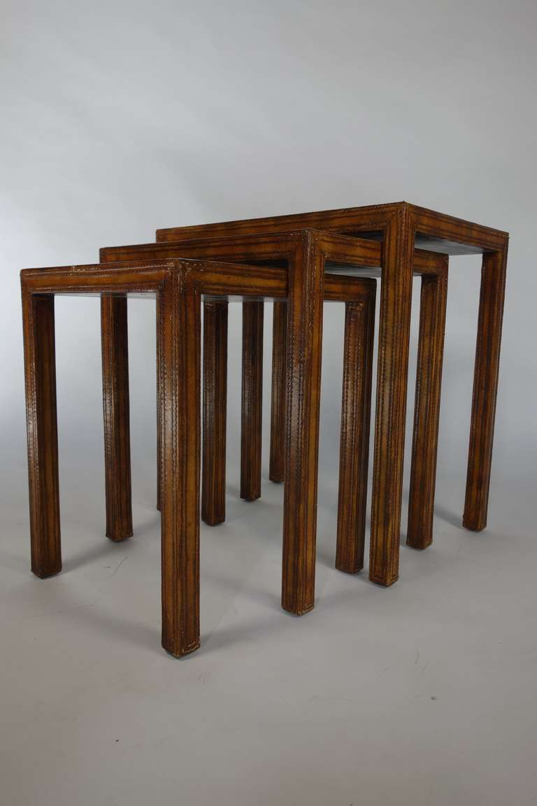 Nested set of three hand tooled leather tables by maitland for Furniture 08054