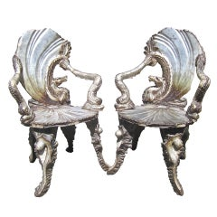 Rare Pair of Pauly et Cie. Grotto Chairs from Aileen Getty Collection