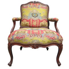 Stunning French Walnut Fauteuil from the Collection of Horace Dodge