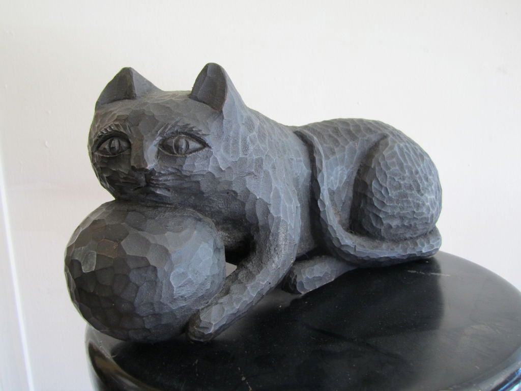 1950s Ebonized Carved Cat with Yarn image 2