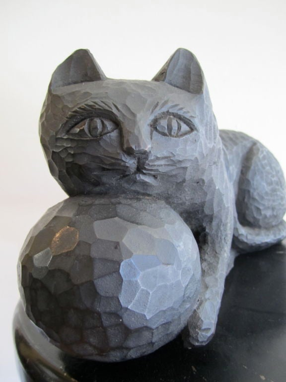 1950s Ebonized Carved Cat with Yarn image 3