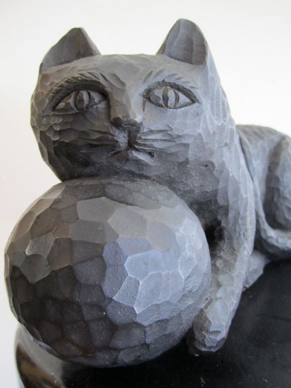 1950s Ebonized Carved Cat with Yarn image 6