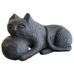 1950s Ebonized Carved Cat with Yarn thumbnail 1