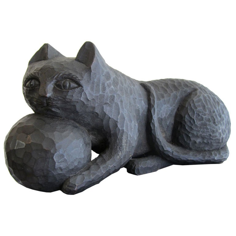 1950s Ebonized Carved Cat with Yarn