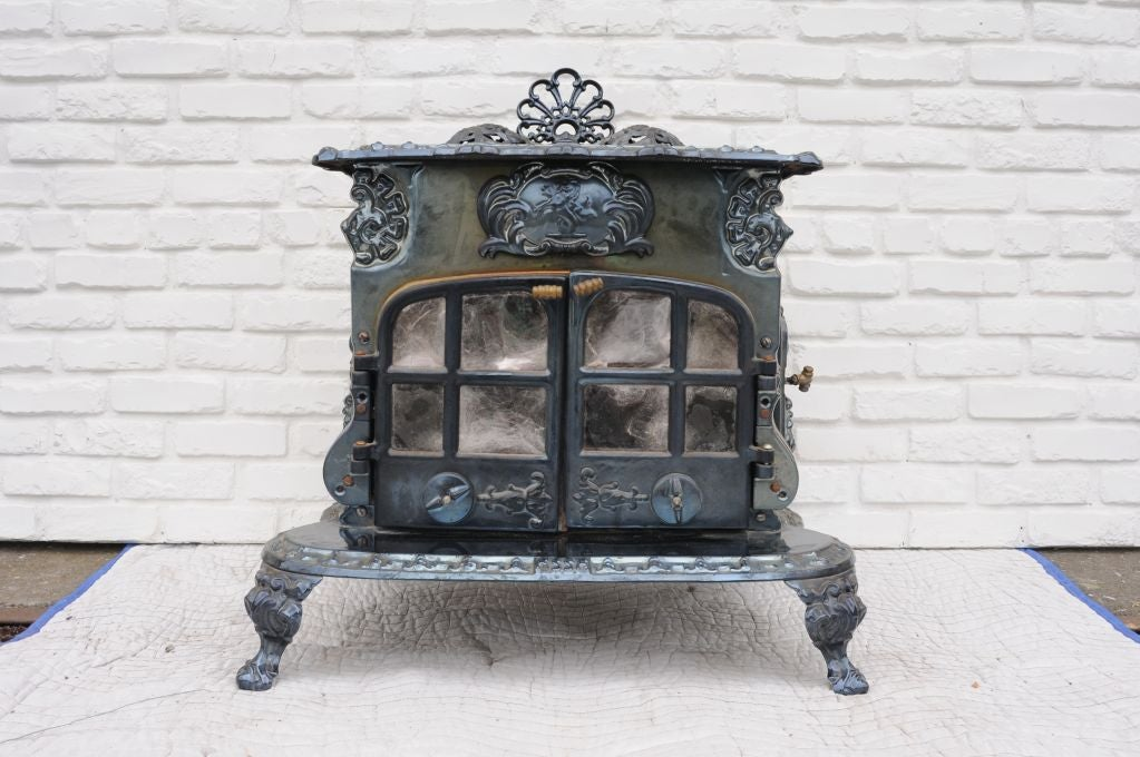 cast iron wood burning stove at 1stdibs