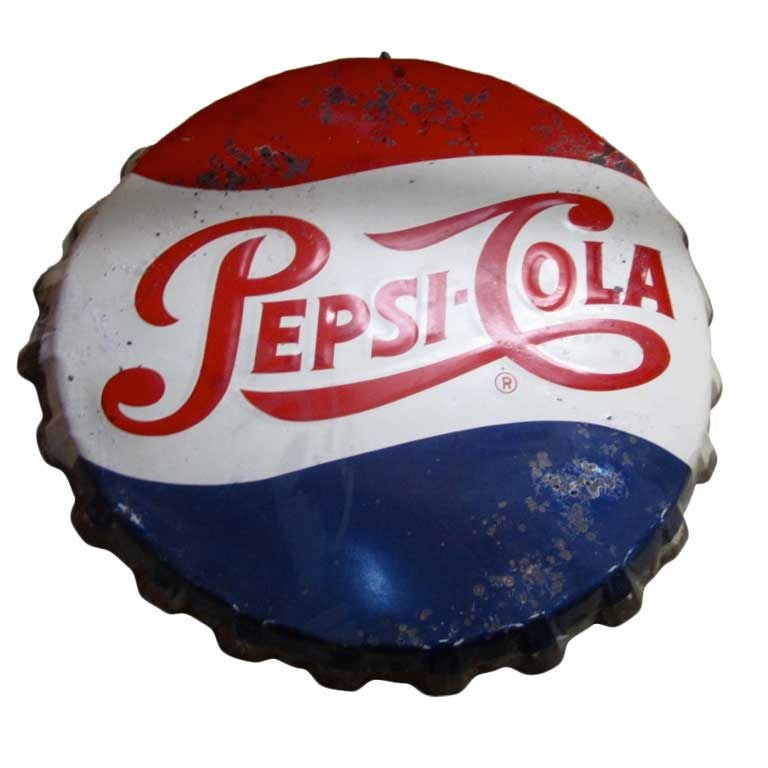 Giant Pepsi Bottle Cap Sign At 1stdibs