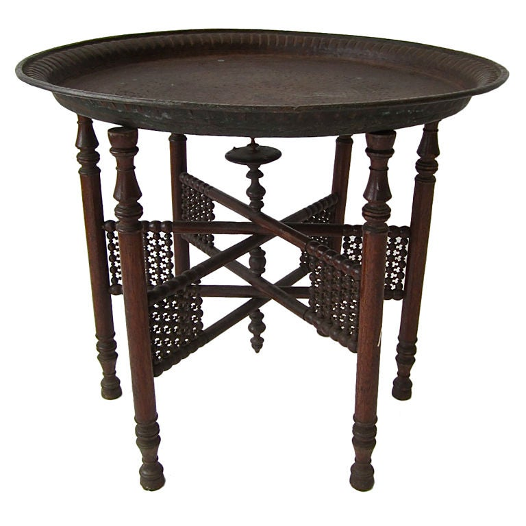 egyptian hammered copper table at 1stdibs. Black Bedroom Furniture Sets. Home Design Ideas