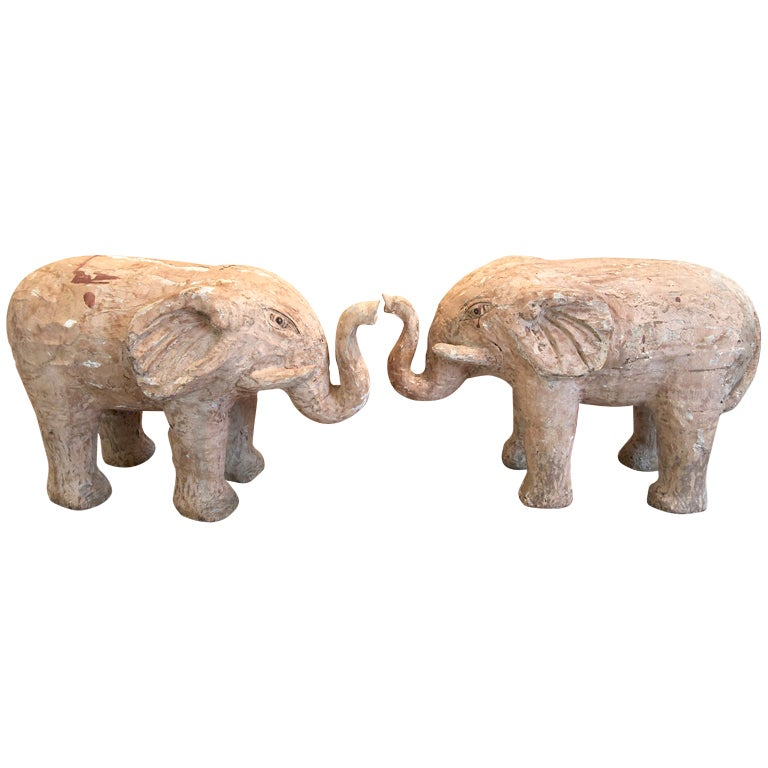 Pair Of Quot Trunks Up Quot Good Luck Elephants At 1stdibs