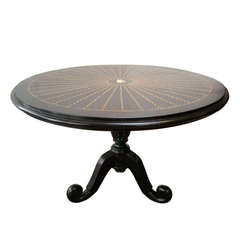 Anglo-Indian Solid Ebony Tilt-Top Table