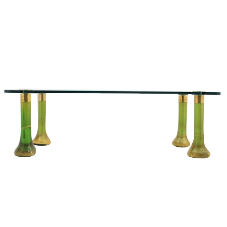 Emerald Green Murano Glass Cocktail Table At 1stdibs